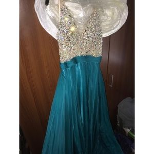 Aspeed teal jeweled top long prom dress
